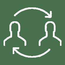 Icon mit zwei Personen und Pfeilen, die einen Kreislauf darstellen
